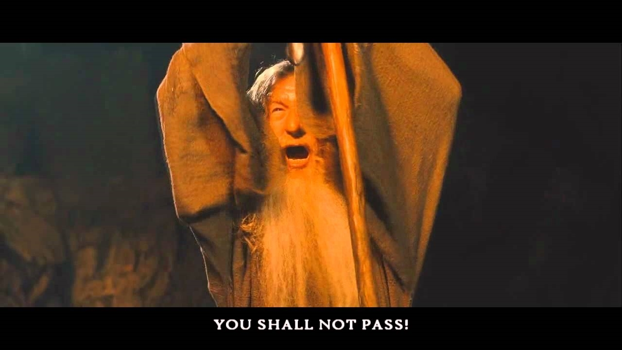 you shall not pass gandalf with bottom text | Meme Generator