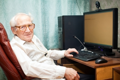 Old Person Still Working On Business