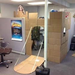 Epic nerf fights happens we once did that to other cubicles too. It was a badass job