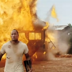 The Rock doesnt look at explosions