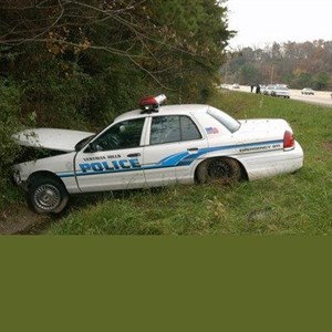 police car wrecked