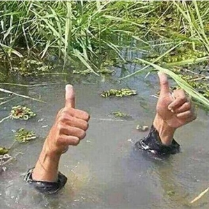 Drowning Thumbs Up Guy