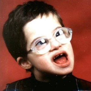 retarded kid with glasses