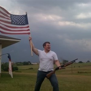 american flag shotgun guy