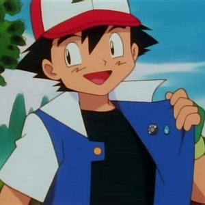 Ash Ketchum with two badges