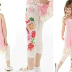 Cute Girl With Pink Dress & Baby Sara Leggings