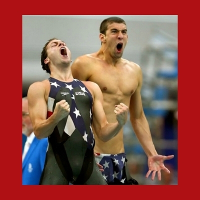 Ecstatic Michael Phelps