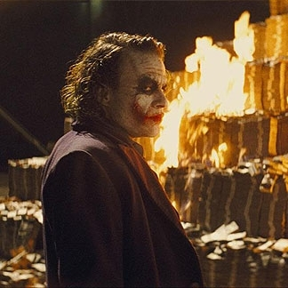 The joker burning money