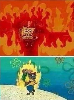 Spongebob on fire comparation