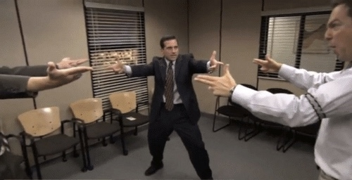 The Office Mexican Standoff - Caption | Meme Generator
