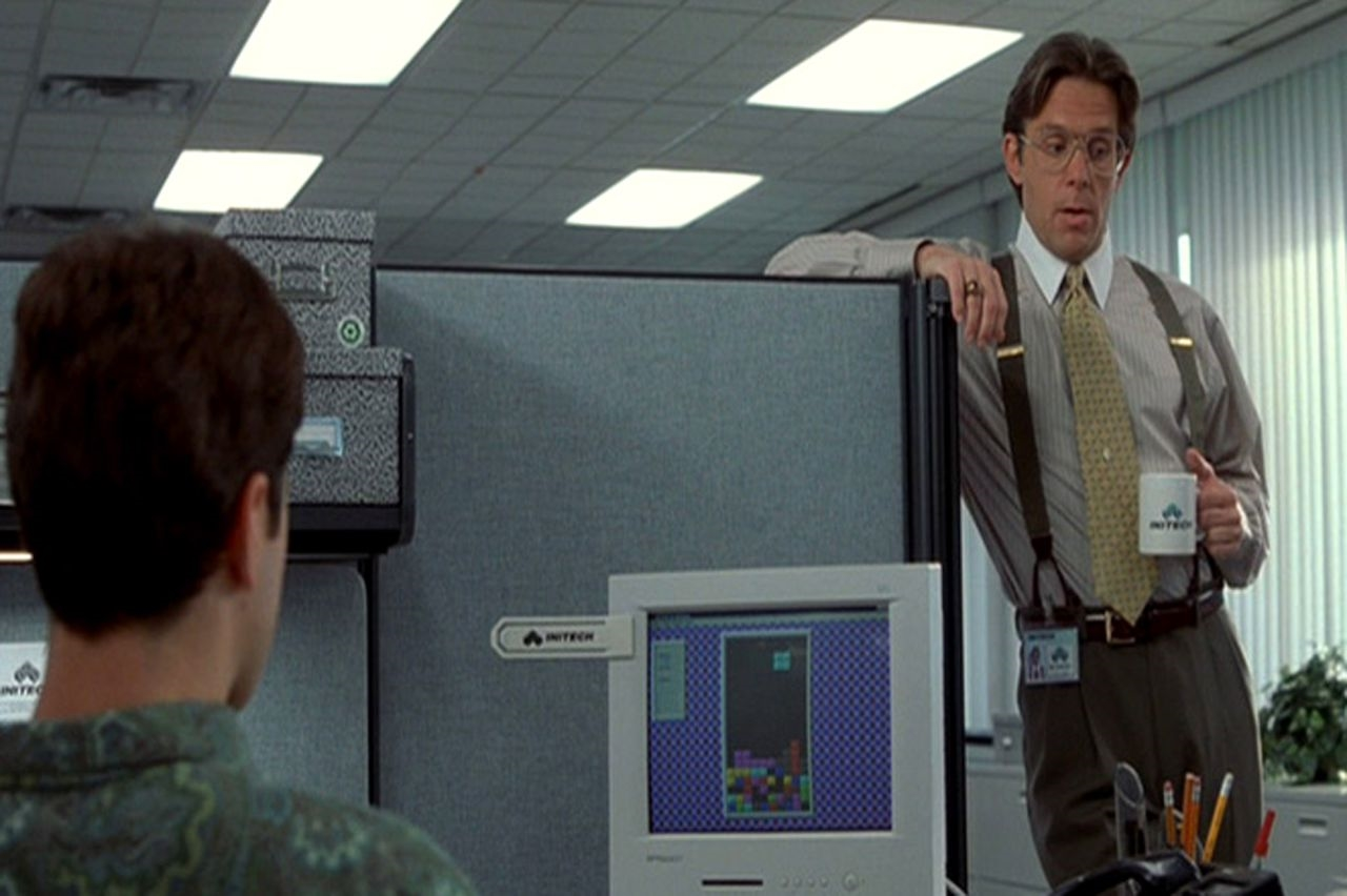 Peter playing tetris Office Space
