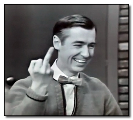 Mr Rogers gives the finger