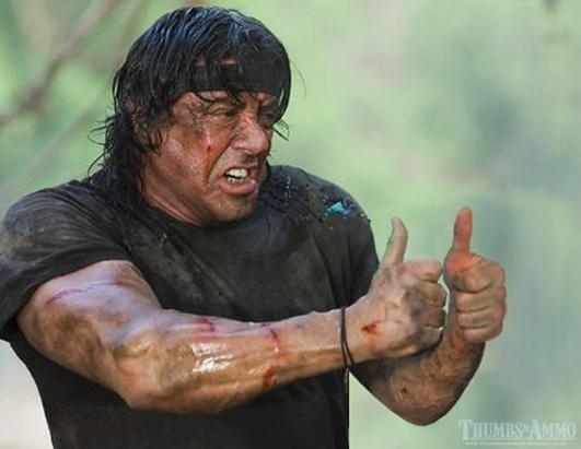 stallone thumbs up