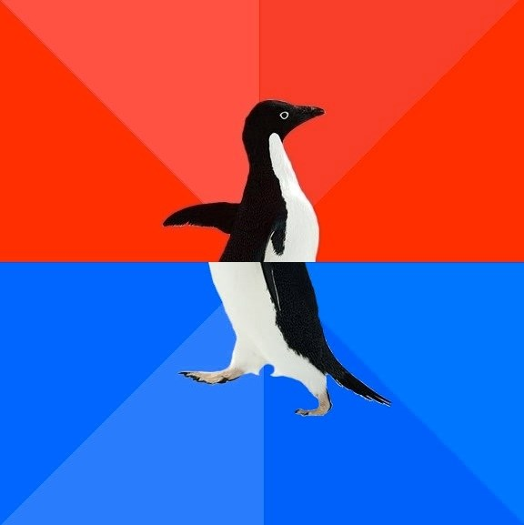 Socially Awkward Penguin (Red Top)