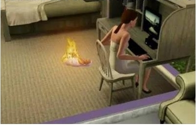 sims 3 baby fire