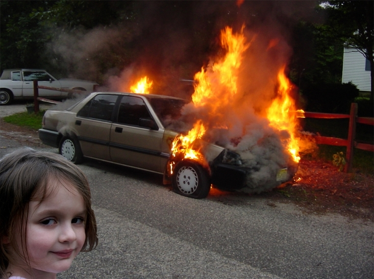 Disaster Girl Car Fire
