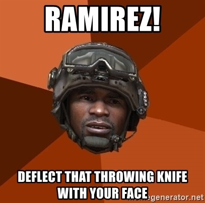 Ramirez do something - RAMIREZ! deflect that throwing knife with your face