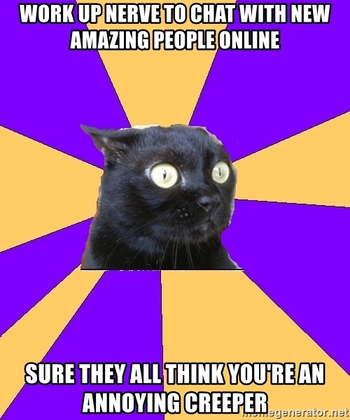 Anxiety Cat - work up nerve to chat with new amazing people online Sure they all think you're an annoying creeper