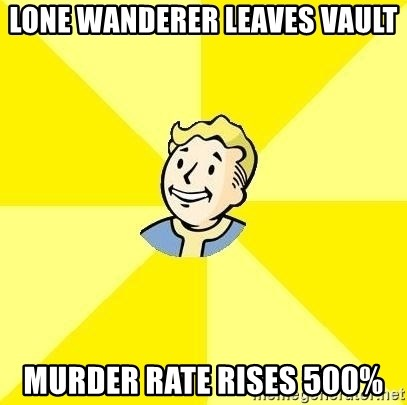 Fallout 3 - Lone wanderer leaves vault murder rate rises 500%