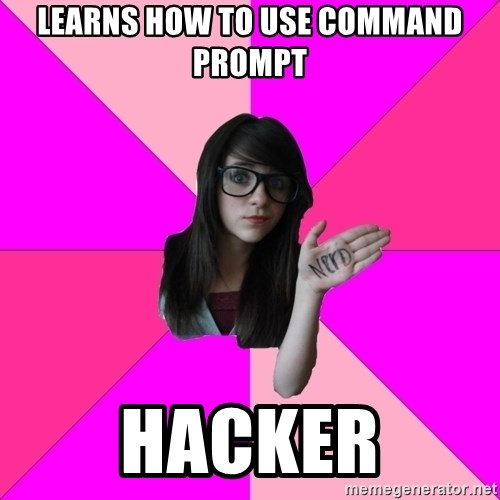 Idiot Nerd Girl - learns how to use command prompt hacker