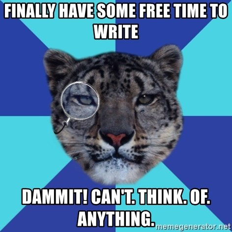 Writer Leopard - Finally have some free time to write dammit! can't. think. of. anything.