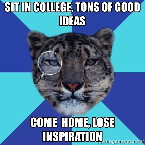 Writer Leopard - Sit in college, tons of good ideas come  home, lose inspiration