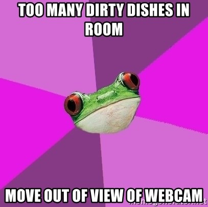 Foul Bachelorette Frog - too many dirty dishes in room Move out of view of webcam