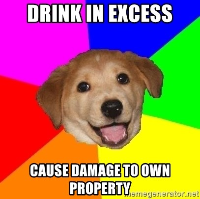 Advice Dog - DRINK IN EXCESS CAUSE DAMAGE TO OWN PROPERTY