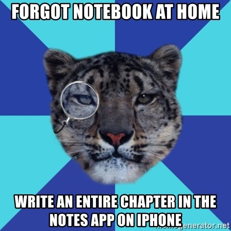 Writer Leopard - forgot notebook at home write an entire chapter in the notes app on iphone