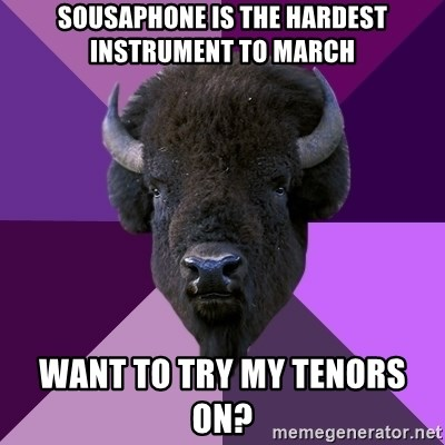 Fuck Yeah Band Buffalo - sousaphone is the hardest instrument to march want to try my tenors on?
