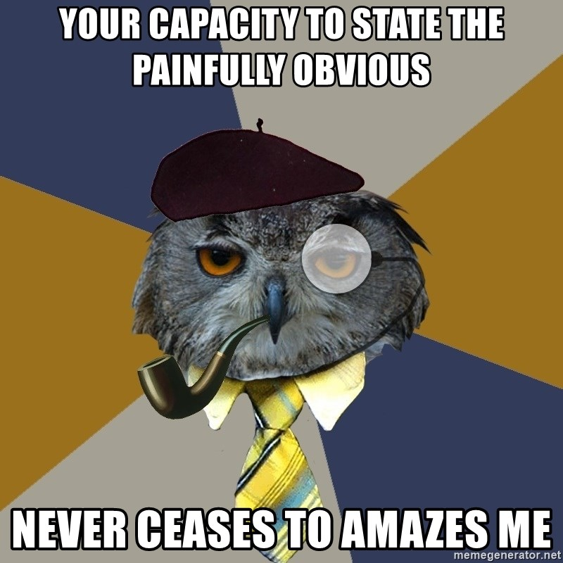 Art Professor Owl - your capacity to state the painfully obvious never ceases to AMAZES me