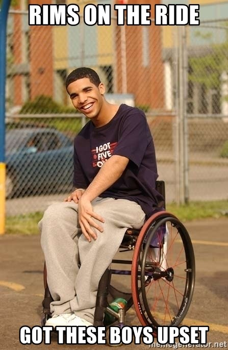Drake Wheelchair - rims on the ride got these boys upset