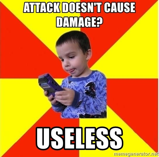 Pokemon Kid - aTTack doesn't cause damage? useless