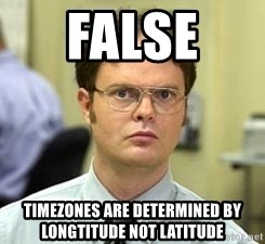 Dwight Shrute - FALSE  Timezones are determined by longtitude not latitude