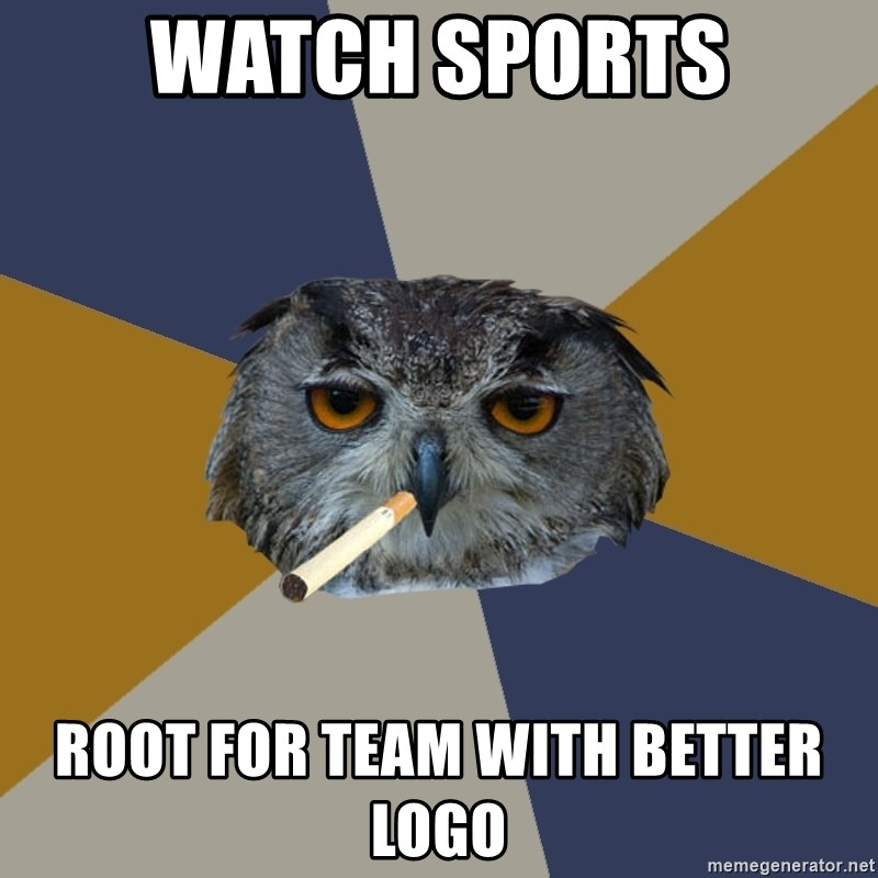 Art Student Owl - Watch sports root for team with better logo