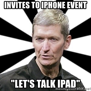 """Tim Cook Time - invites to iphone event """"Let's talk ipad"""""""