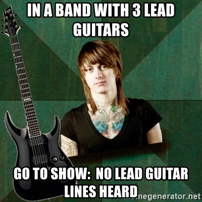 Progressive Guitarist - in a band with 3 lead guitars go to show:  No lead guitar lines heard