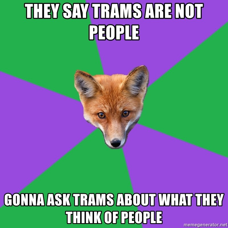 Anthropology Major Fox - they say trams are not people gonna ask trams about what they think of people