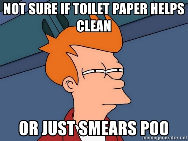 Futurama Fry - Not sure if toilet paper helps clean or just smears poo