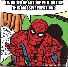 Question Spiderman - i wonder of anyone will notice this massive erection?