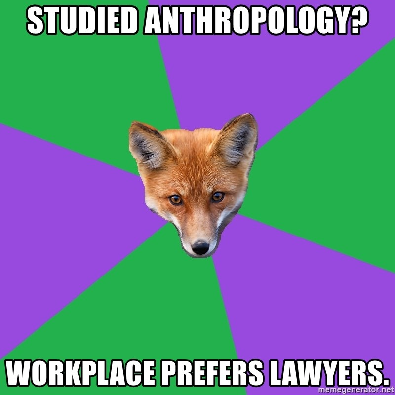Anthropology Major Fox - Studied Anthropology? workplace prefers lawyers.