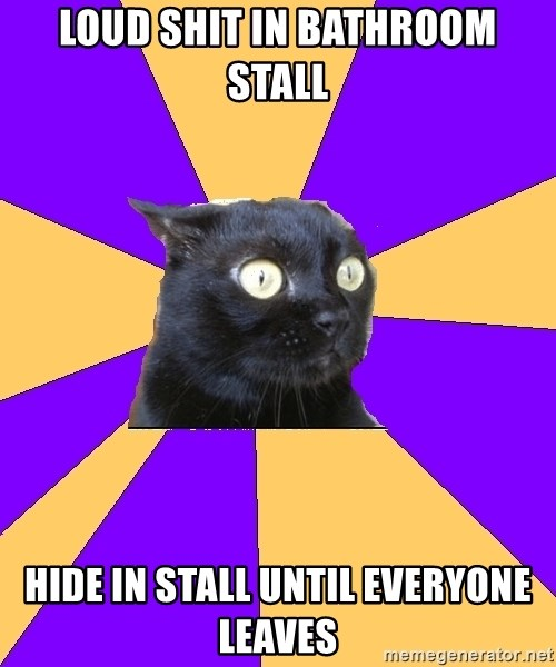 Anxiety Cat - LOUD SHIT IN BATHROOM STALL HIDE IN STALL UNTIL EVERYONE LEAVES