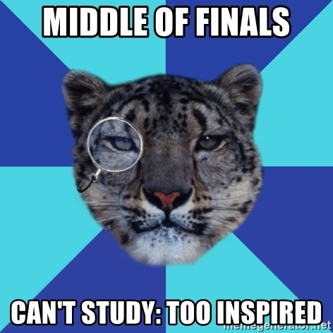 Writer Leopard - Middle of Finals Can't study: too inspired