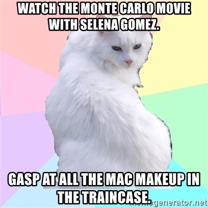 Watch the Monte Carlo movie with Selena Gomez. Gasp at all the MAC makeup in the traincase. - Beauty Addict Kitty | Meme Generator