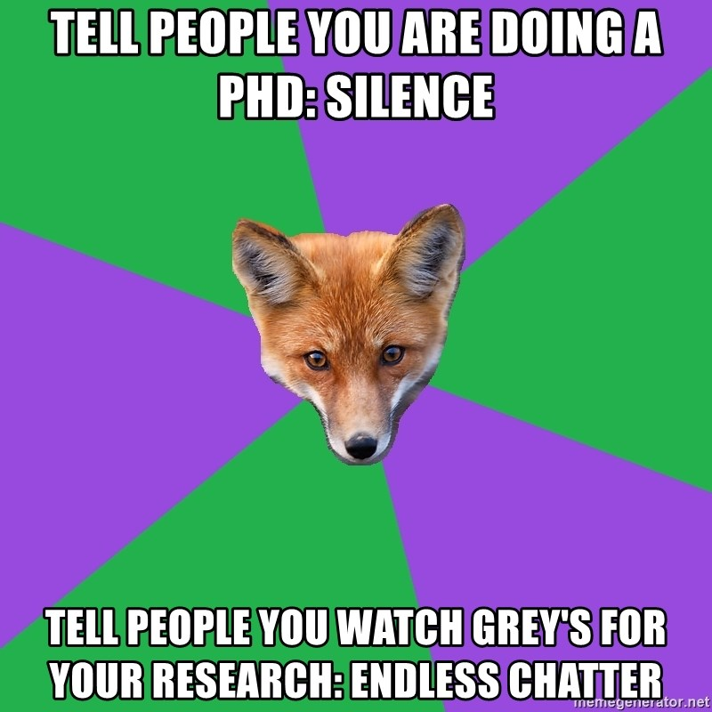 Anthropology Major Fox - Tell people you are doing a phd: silence Tell people you watch grey's for your research: endless chatter