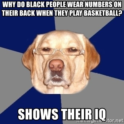Racist Dog - Why do black people wear numbers on their back when they play basketball? Shows their iq