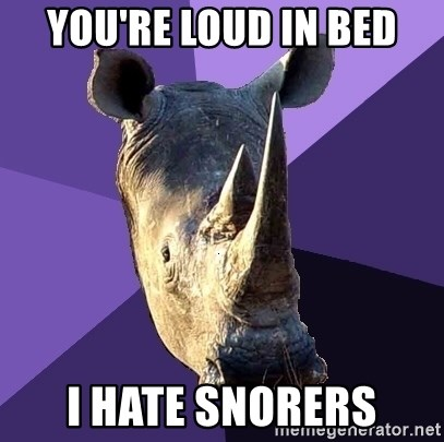 Sexually Oblivious Rhino - you're loud in bed I hate snorers