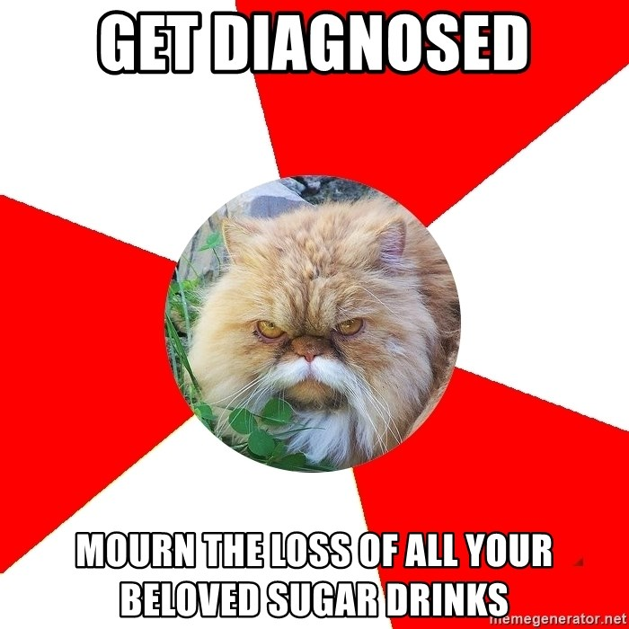 Diabetic Cat - get diagnosed mourn the loss of all your beloved sugar drinks
