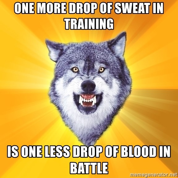 Courage Wolf - One more drop of sweat in training is one less drop of blood in battle