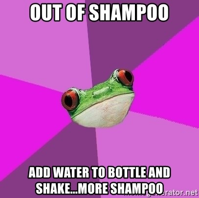Foul Bachelorette Frog - out of shampoo add water to bottle and shake...more shampoo
